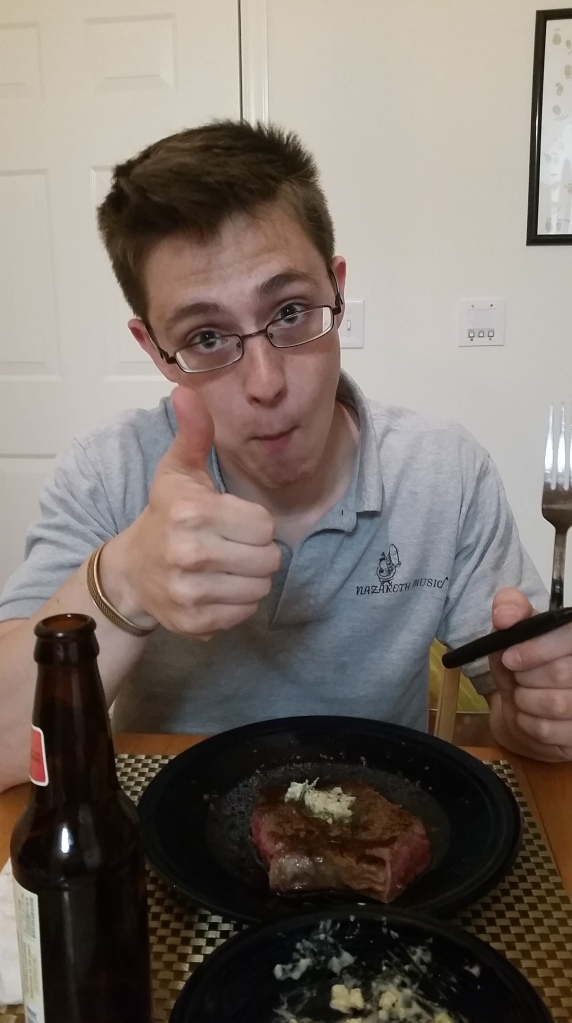 eating a skillet steak