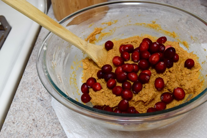 whole wheat pumpkin bread mixture with cranberries