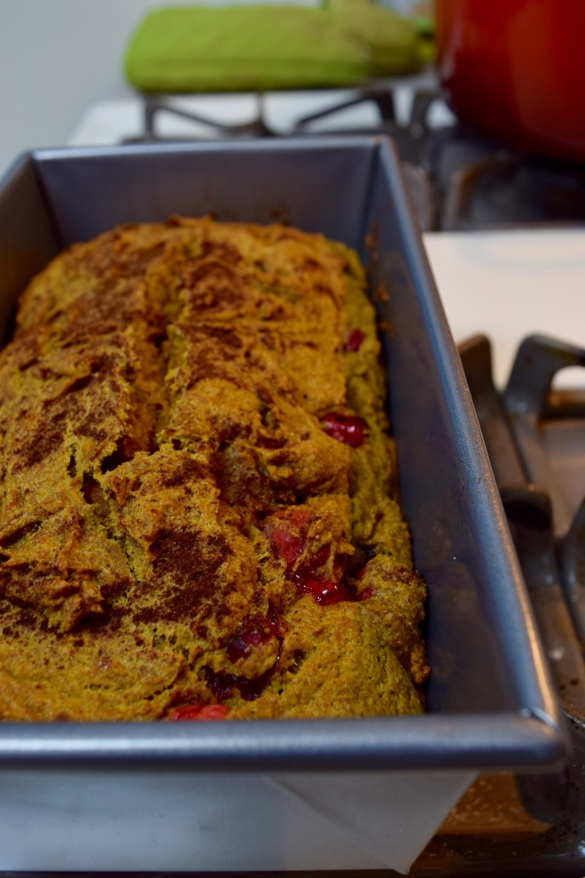 whole wheat pumpkin bread with cranberries and a cinnamon swirl