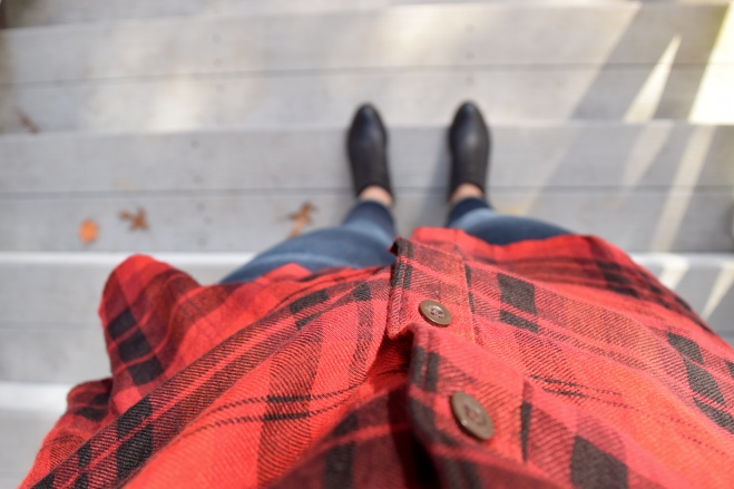 red fall flannel ankle boots