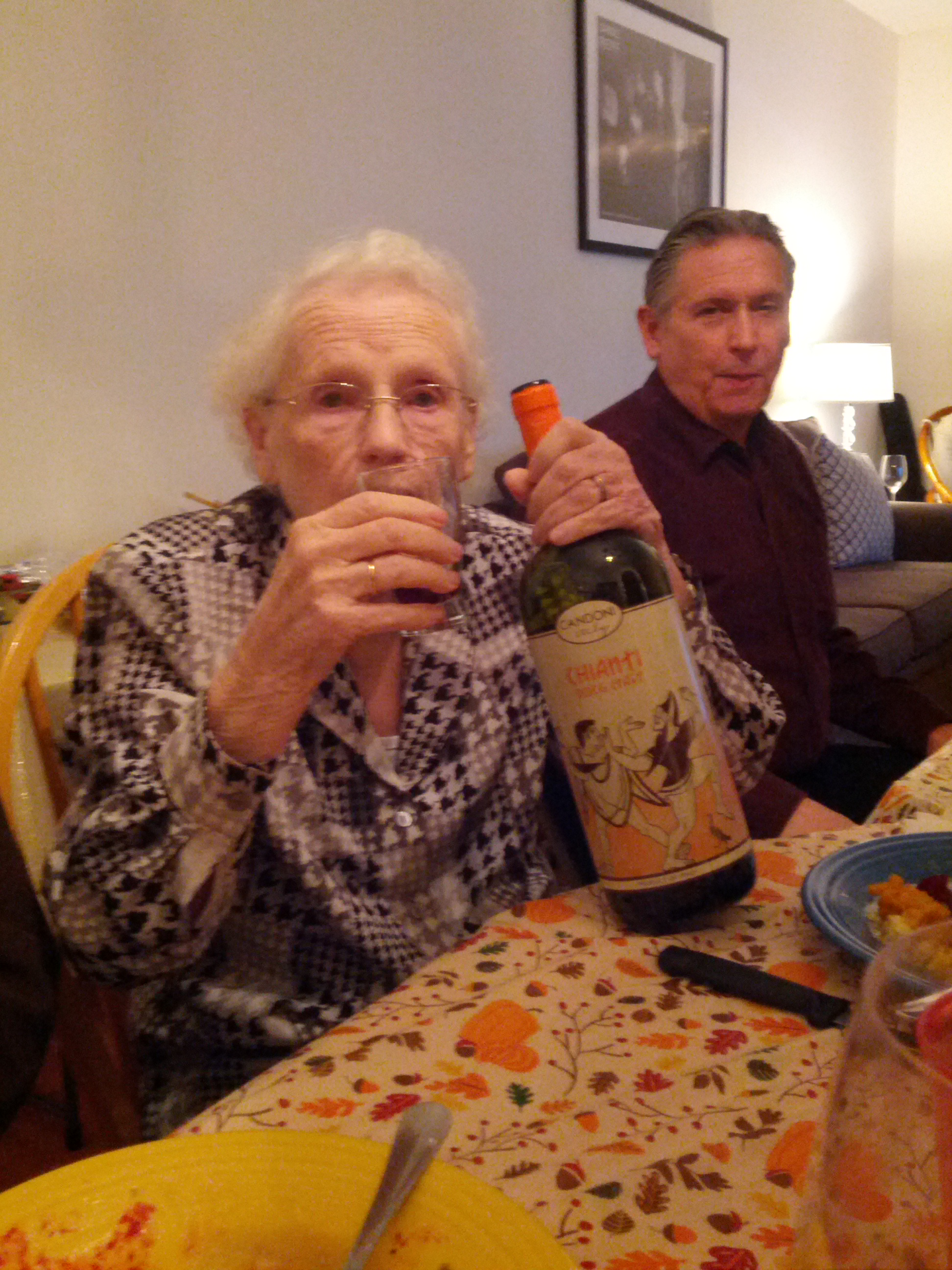 grandma drinks wine on thanksgiving